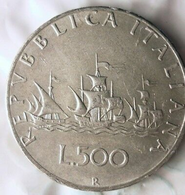1966 ITALY 500 LIRE - AU - Uncommon Vintage Silver Coin - Lot #811