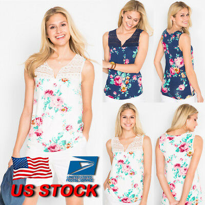 US Womens Lace Up V Neck Sleeveless Tank Floral Vest Ladies Tank Tops Shirt New