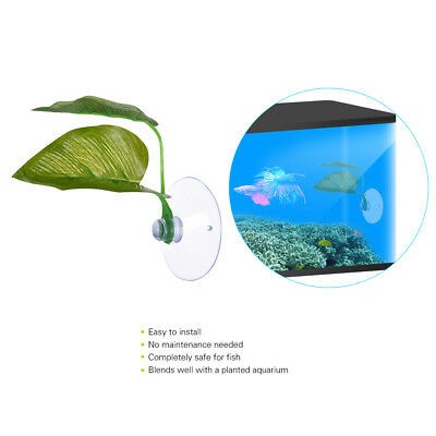 Aquarium Fake Leaf Fish Tank Suction Cup Betta Fish Spawning Rest Plant Decor