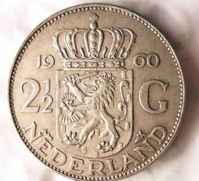 1960 NETHERLANDS 2 1/2 GULDEN - High Quality Crown Silver Coin - Lot #811