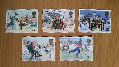 Complete GB used stamp set: 1990 Christmas