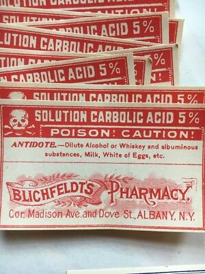 Vintage Pharmacy Labels Skull And Cross Bones Poison Unused Lot Of 50 Plus