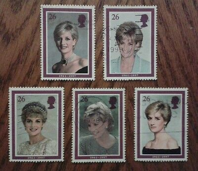 Complete GB used stamp set: 1997 Diana Princess of Wales Commemoration