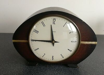 Old Wooden Cased Smiths Mantel Clock With Key