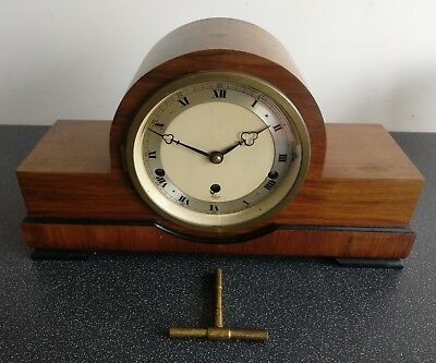 Old Wooden Cased Elliott Of London Chiming Mantel Clock With Key