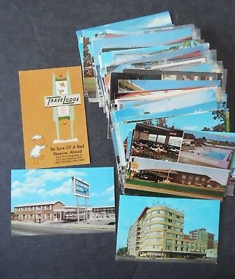 Lot of 100 Motel Hotel & Restaurant Roadside Chrome Postcards 1950s-70s