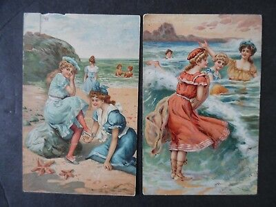Lot of 2 Victorian Bathing Suit Bathing Beauty Girl Greeting Postcards