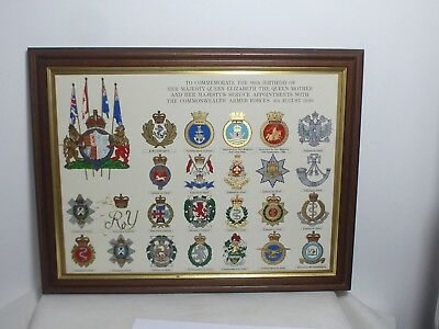 Queen Elizabeth The Queen Mother 90th Birthday Armed Forces Plaque Picture