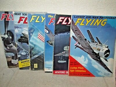 """1 Lot of 6 1942 & 1943 Issues of """"Flying"""" Magazine"""
