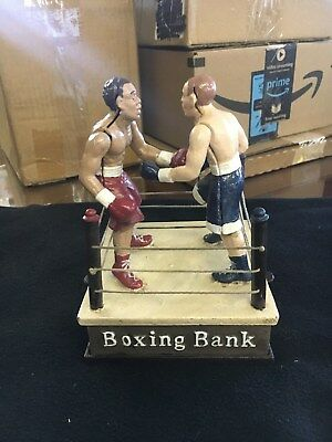 Boxing Match Die Cast Iron Boxers Mechanical Bank Antique Replica