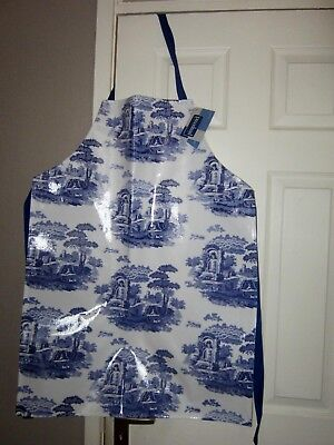 Spode Blue Italian Design 100% Cotton Pvc Coated Apron - New With Tags