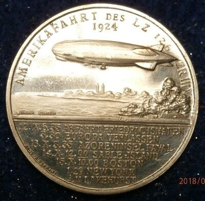 1924 Flight To America Of The Lz126 Silvered Medal Choice Proof C984B
