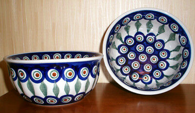 Boleslawiec Polish Pottery Soup / Cereal  Bowl Set of 2 Peacock, 16oz NEw