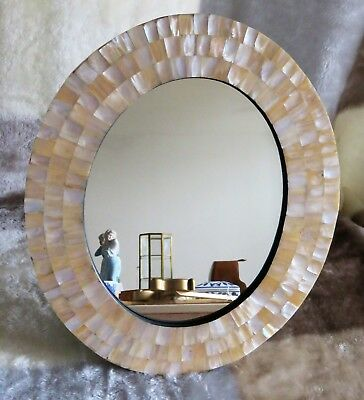 Mirror Mother of Pearl Inlay Oval Frame - FREE POST UK -