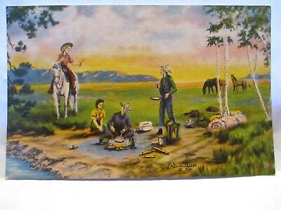 1941 Art Sign Dude Larsen #19 Postcard The Lure Of The West, Cowgirl, Horse Camp