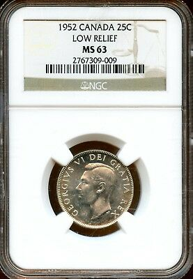 Beautiful 1952 NGC MS 63 Canada Low Relief 25c Coin LF186