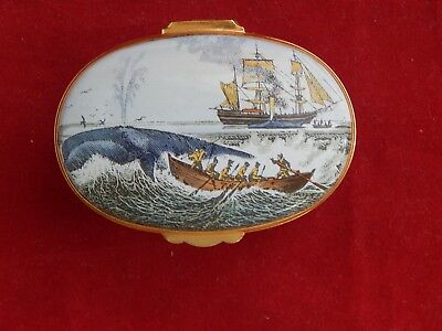 Crummles Enamel Oval Trinket Box;the Old Whalers.excellent Condition.