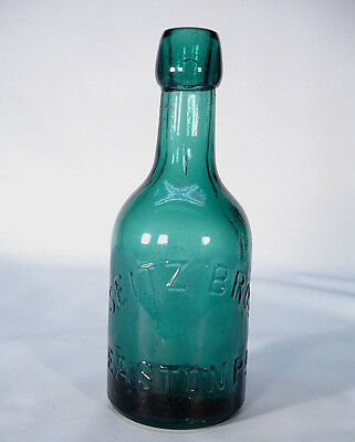 Seitz Bros Easton Pa Great Green Color Squat Applied Blob Soda Or Beer Bottle