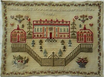 MID 19TH CENTURY COUNTRY MANSION SAMPLER BY HANNAH CHILVERS - FEBRUARY 9th 1850