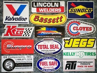 Lot of 14 Medium Orig. Racing Decals/Stickers Sunoco JEGS Cloyes Valvoline