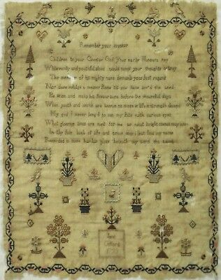 Late 18Th Century Verse & Motif Sampler By Jane Gifford - 1793