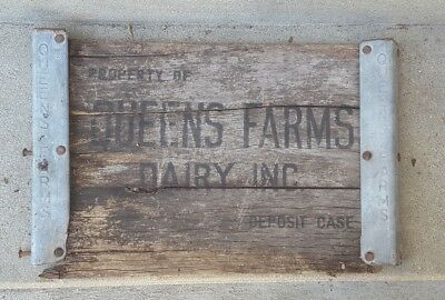 2 PCS Vintage Queens Farms Dairy Metal Trim Wood Salvaged from Crate