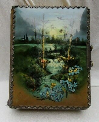 Beautiful Antique Celluloid Moonlit River Scene Photo Album w Photos Latch Works