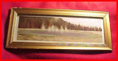 Antique Original Framed Emerald Pool Yellowstone National Park Color Print-LOOK!