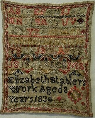 Small Early 19Th Century Alphabet Sampler By Elizabeth Stabler Aged 8 - 1834