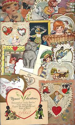 Vintage Lot Of 21 Valentines Day Cards Mostly 1920's -'30s