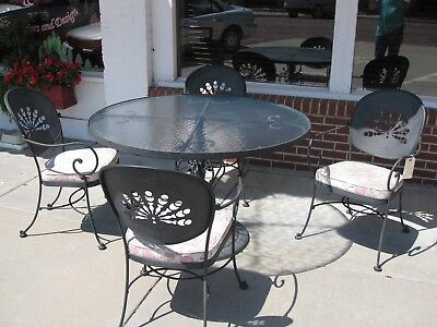 Vintage Crown Leisure Products 5 Piece Wrought Iron & Glass Patio Set