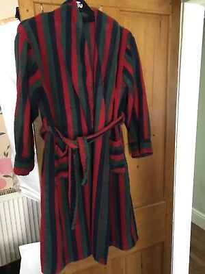 "MENS VINTAGE 1980's STRIPED TOWELLING DRESSING GOWN - 44"" CHEST"