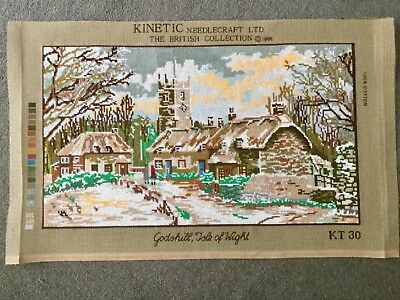 Vintage Hand Embroidered Needlepoint Panel Godshill Isle of Wight