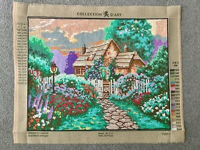 Vintage Hand Embroidered Needlepoint Panel Cottage