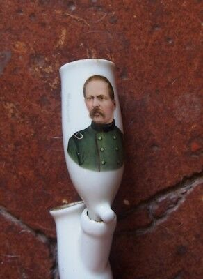 antique PIPE faience ALLEMANDE MOTIF  portrait du GENERAL HERZOG vers 1870
