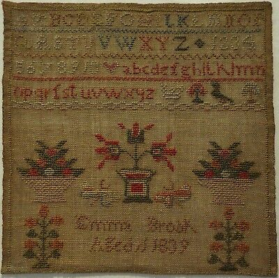 Early 19Th Century Motif & Alphabet Sampler By Emma Brook Aged 11 - 1839