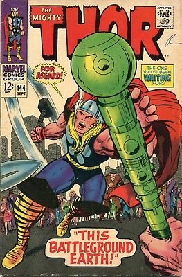 The Mighty Thor # 144 - Sif - Odin - Balder -Kirby Art -Cents Copy -Scarce In Uk