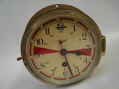 Working Antique 8 Day Smiths Astral Brass Radio Room Bulkhead Clock
