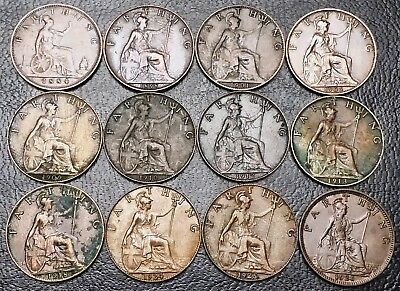 Lot of 12x Great Britain UK Farthing Coins - Dates: 1884 to 1926