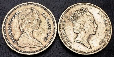 1983 and 1985 Great Britain One Pound Coins