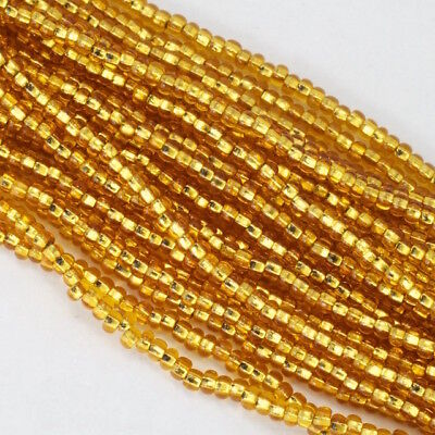 11/0 Silver Lined Gold Czech Seed Bead (10 Gm, Hank, 1/2 Kilo) #CSG143