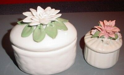 2 Porcelain Trinket Boxes w/Applied Flowers