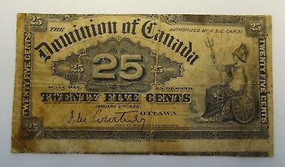 Miscut Error 1900 Dominion Of Canada 25 Cent Paper Currency Money