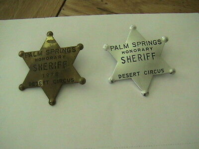 2 Vintage Palm Springs Honorary Sheriff Desert Circus Badges 1978 Law Officer