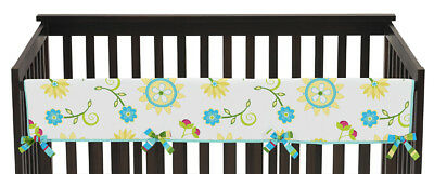 Sweet Jojo Layla Floral Front Rail Guard Crib Cover Baby Teething Protector Wrap