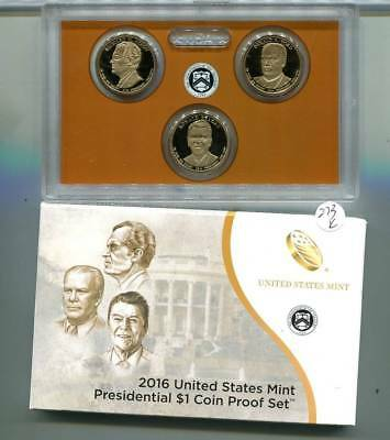 2016 S President Dollar 3 Coin Proof Set With Original Box