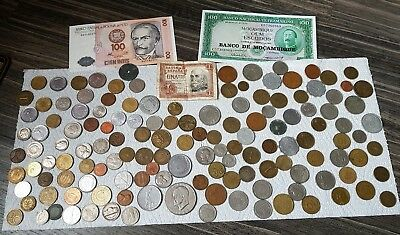 """JOB LOT OF OLD WORLD COINS """"OVER 145 COINS"""" AND BANKNOTES,  99p"""