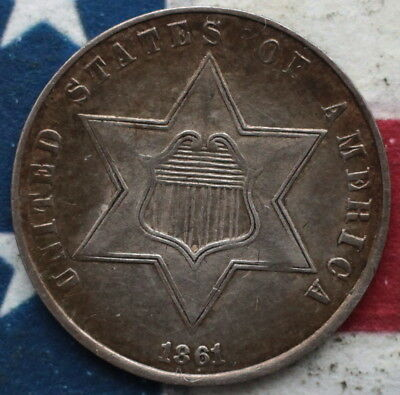Gh9912 1861 Tp 3  Three Cent Silver  Toned Original Ch Au / Unc Civil War Date