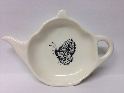 Small Atlanta Bartlett Teapot Shaped Pin Dish Decorated With Butterfly