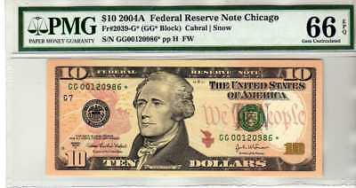 Fr.2039-G* $10 2004 A CHICAGO STAR FEDERAL RESERVE NOTE PMG GEM 66 EPQ